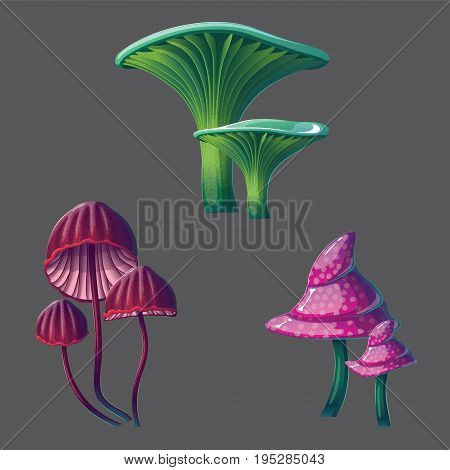 A high quality fantasy mushrooms set. Bright, cartoon, fantastic natural objects.