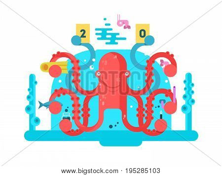 Octopus character design flat. Nature animal with tentacle, underwater invertebrate monster. Vector illustration