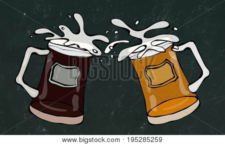 Two Beer Mugs With Light and Dark Beer. Clink with Splash. Realistic Doodle Cartoon Style Hand Drawn Sketch Vector Illustration. Isolated on a Black Chalkboard Background.