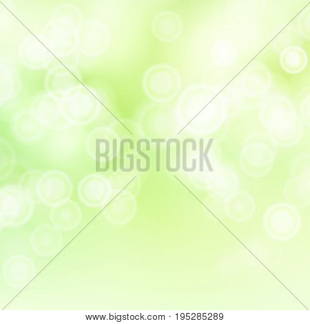 Light Green Background Vector. Bokeh Background With Vintage Filter.