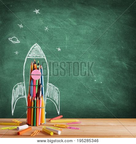 Back To School - Rocket Sketch On Blackboard