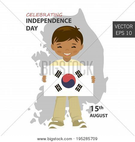 South Korea flag in the correct Size proportion and color. The national flag of South Korea. A boy is holding a flag. The national flag of South Korea vector illustration.