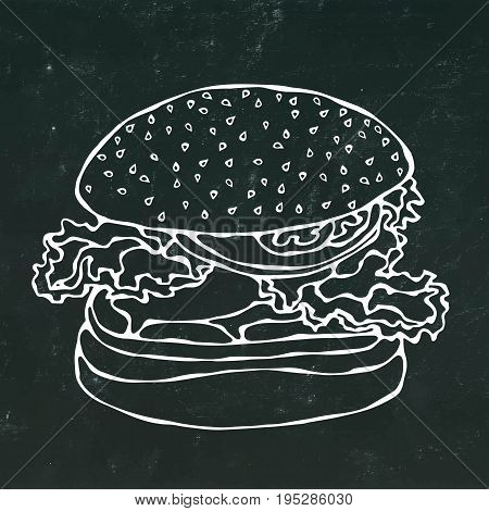 Big Burger , Hamburger or Cheeseburger. Realistic Doodle Cartoon Style Hand Drawn Sketch Vector Illustration. Isolated on a Black Chalkboard Background.
