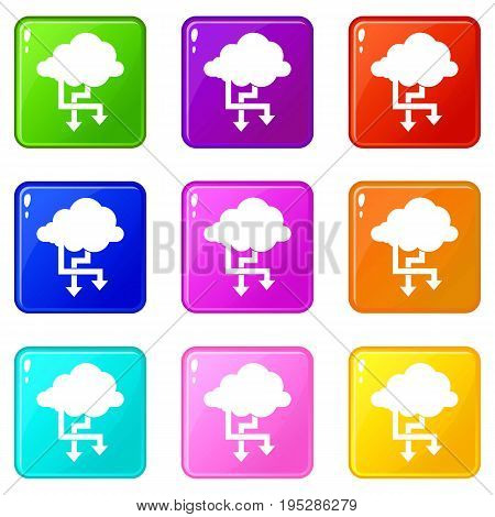 Cloud and arrows icons of 9 color set isolated vector illustration