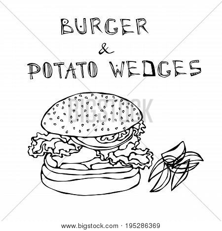 Big Hamburger or Cheeseburger with Potato Wedges. Burger Lettering. Realistic Doodle Cartoon Style Hand Drawn Sketch Vector Illustration.Isolated On a White Background.