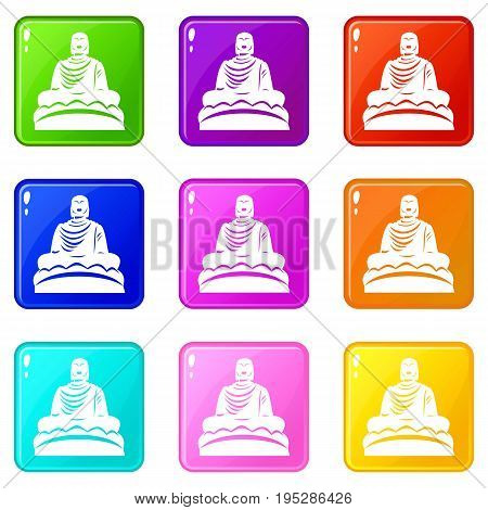 Buddha statue icons of 9 color set isolated vector illustration
