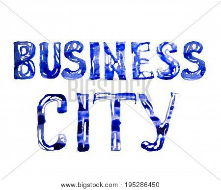 Business city sign made of blue watercolour. Watercolour textured collection.