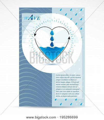 Water treatment company advertising flyer for use as marketing design idea. Global water circulation conceptual design vector heart shape with direction arrows.