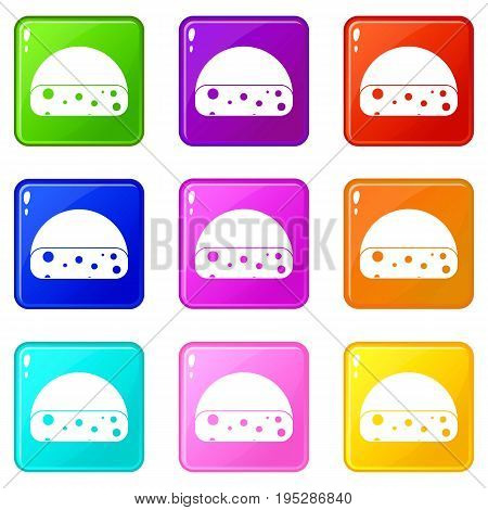 Dutch cheese icons of 9 color set isolated vector illustration