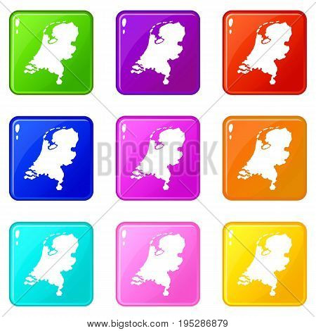 Holland map icons of 9 color set isolated vector illustration
