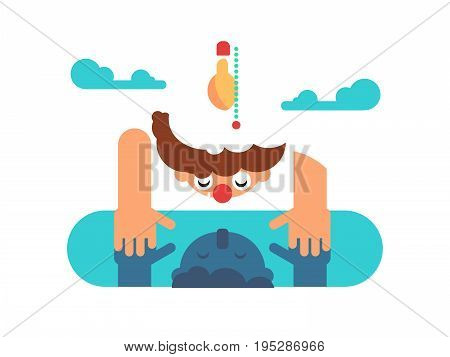 Man mind reflection. Person looking at reflection in puddle. Flat vector illustration.