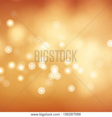 Orange Bokeh Background Vector. Abstract Warm Blur And Bokeh Background.