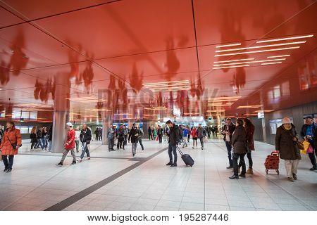 Munich, Germany - 21 April 2017 : People Walking Around Munich Subway Station.