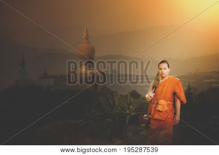 novice monks thailand buddhist templeNovice monk went on a pilgrimage alone stay outdoors.