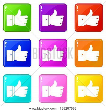 Thumb up gesture icons of 9 color set isolated vector illustration