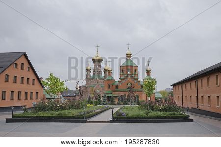 New church on the territory of the monastery Holosiivska desert one of the most beautiful places in Kiev the capital of Ukraine.