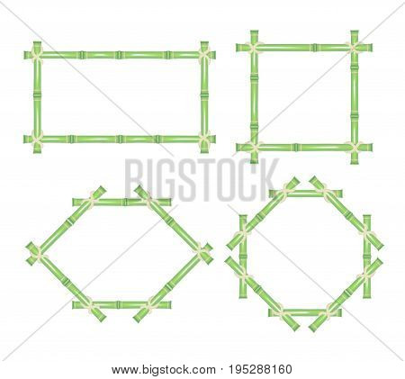 Wooden Frame of Green Bamboo Sticks Set Natural Asian Decoration for Spa Invitation, Banner or Eco Placard. Vector illustration
