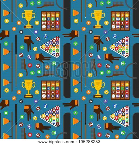 Billiard Game Elements and Equipment Background Pattern on a Blue for Web or App Flat Design Style. Vector illustration