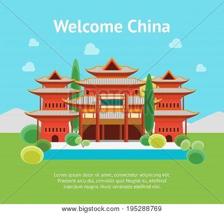 Cartoon China Banner Card Building on a Landscape Background Flat Design Style. Vector illustration