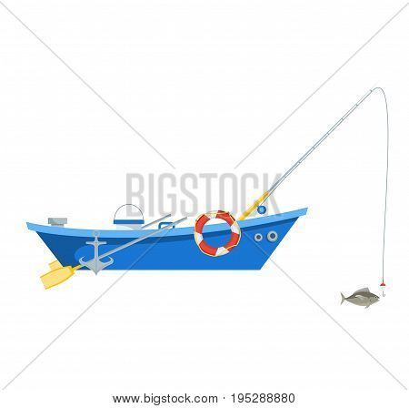 Cartoon Fishing Boat Isolated on White Background for Card Flat Design Style. Vector illustration