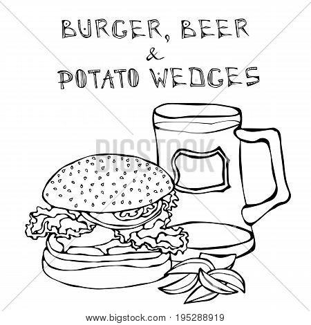 Big Hamburger or Cheeseburger, Beer Mug or Pint and Fried Potato. Burger Lettering. Realistic Doodle Cartoon Style Hand Drawn Sketch Vector Illustration.Isolated On a White Background.