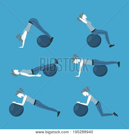 Woman Making Right Exercise with Fitness Ball Workout Position or Posture on a Blue. Flat Design Style Vector illustration