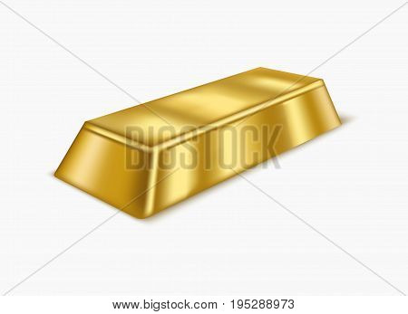 Realistic Gold Bar or Bullion Treasure Symbol of Rich, Reserve and Luxury Isolated on White Background. Vector illustration