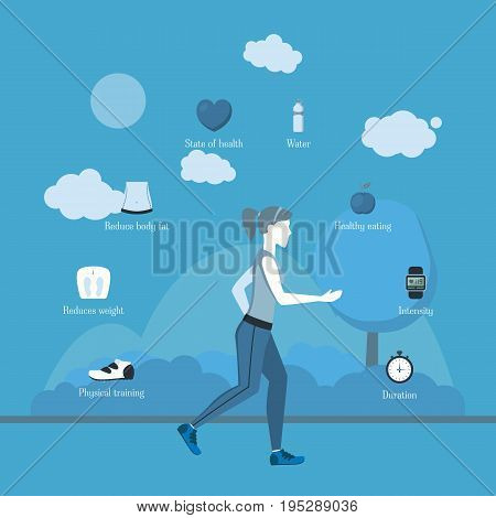 Cartoon Jogging Girl Infographics Sport Exercise for Health Care on a Blue Flat Design Style. Vector illustration