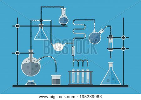 Cartoon Chemical Laboratory on a Blue Background Experiment Science Concept for Your Business Flat Design Style. Vector illustration