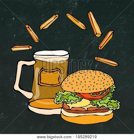 Big Hamburger or Cheeseburger, Beer Mug or Pint and Fried Potato. Burger Logo. Realistic Doodle Cartoon Style Hand Drawn Sketch Vector Illustration. Isolated on a Black Chalkboard Background.
