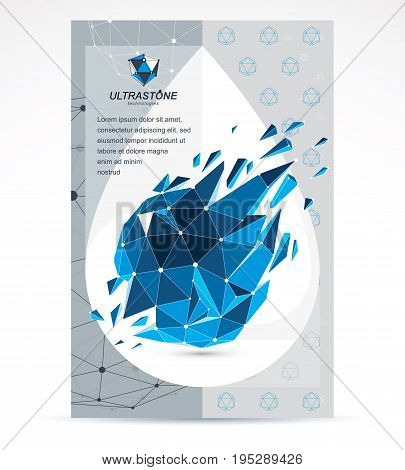 Digital innovations business promotion idea brochure head page. Abstract cracked construction vector dimensional blue low poly design.