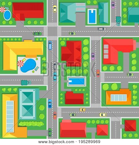 Map of Town Top View Architectural Plan Of The City Background Pattern for Card. Vector illustration