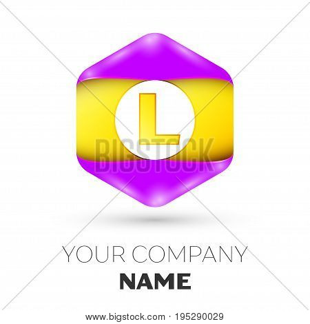 Realistic Letter L vector logo symbol in the colorful hexagonal on white background. Vector template for your design