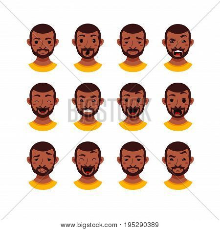 American African men facial expression isolated icons. Cute color vector illustration of beard black guy faces avatars showing different emotions smiling, sad, surprised, laugh happy in flat style.