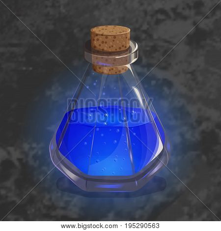Bottle with orange potion. Game icon of magic elixir in cartoon style. Bright design for app user interface. Magic, mana, intellect, breathing, clarity, flight, sleeping. Vector illustration. Icons Collection.