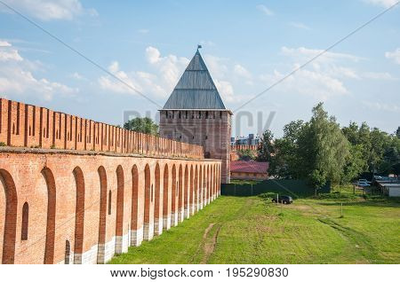 A Part Of A Smolensk Fortress With Abraham Tower On Sunny Day