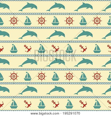 Maritime mood, Seamless nautical pattern with dolphin and seaworthy symbols