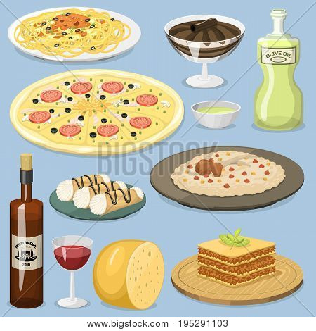 Cartoon italy food cuisine ingredient homemade Italian cooking fresh traditional lunch vector illustration. Dish plate sauce vegetarian cooked diet healthy snack.