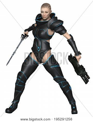 Science fiction illustration of a mystic future warrior priestess with sword and gun, digital illustration (3d rendering)