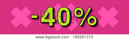 40 Percent Discount Vector Tag