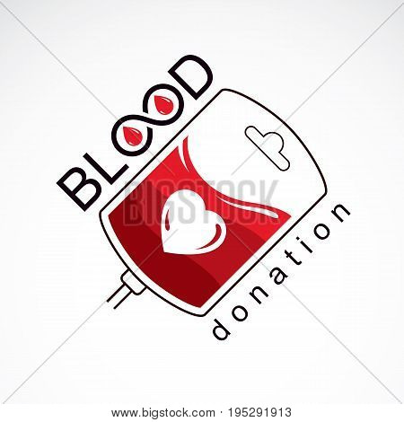 Vector illustration of blood dropper prepared for blood donation. Blood transfusion metaphor medical care emblem.