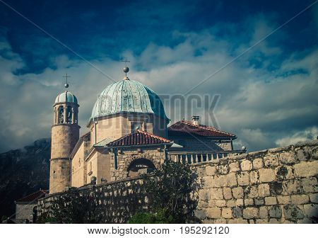 The church of the rock in  montenegro
