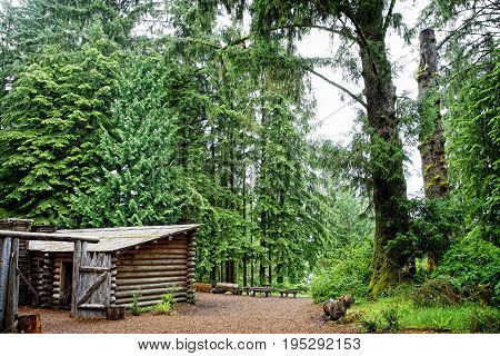 Lewis and Clark's Fort Clatsop in the Old Growth Forest of the pacific noorthwest.