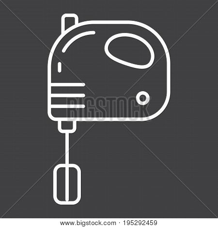 Hand mixer line icon, household and appliance, vector graphics, a linear pattern on a black background, eps 10.