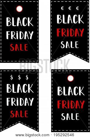 A set of Black Friday Sale posters. Black friday banners..Black friday price stickers..Black friday sale discount advertising marketing price tags..Black friday lettering..Vector Illustration