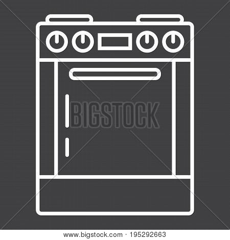 Gas stove line icon, kitchen and appliance, electric range vector graphics, a linear pattern on a black background, eps 10.