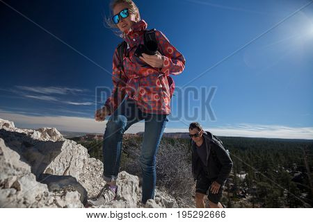 Tourists climbing up the hill at Bryce Canyon National Park, USA