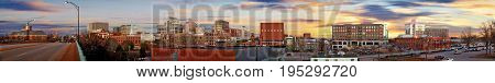 Small city skyline horizon panorama of downtown Greenville South carolina
