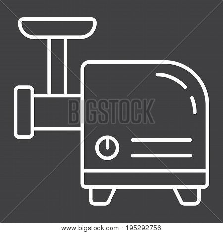 Meat Grinder line icon, household and appliance, vector graphics, a linear pattern on a black background, eps 10.