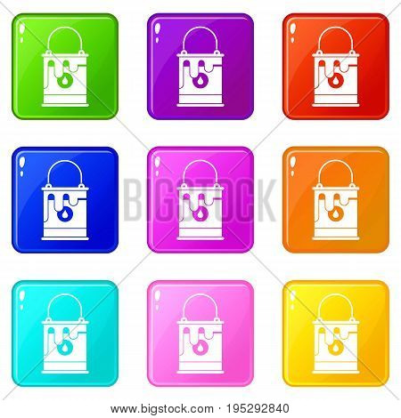 Bucket with paint icons of 9 color set isolated vector illustration